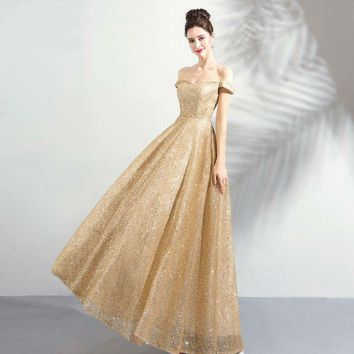 Gold Evening Dresses Long Off Shoulder Bling Sequined Prom Gown for Women Engagement