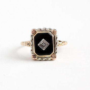Vintage 10k Yellow , White & Rose Gold Black Onyx Diamond Ring - Art Deco 1930s Size 8 Black Gemstone Three Tri Tone Gold Fine Jewelry