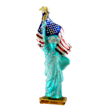 Old World Christmas STATUE OF LIBERTY ORNAMENT Glass Patriotic Nyc Flag 10181