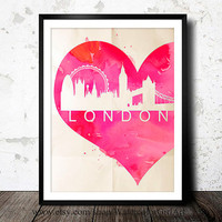 London UK Home Office Decor - Art Print - Wall Art - skyline poster London poster