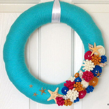 Beach Yarn Wreath, Beach Wreath, Yarn Wreath, Spring Wreath, Summer Wreath, Starfish, Sea Shells, Door Decor, Beach Decor