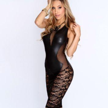 Women Black Faux Leather Dress