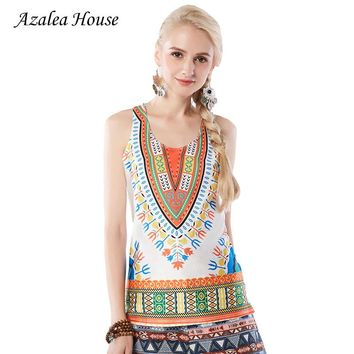 Azalea House 2017  National New Fashion Women's Clothing Printed Crop Tank Tops Casual Printing Suspenders Sexy Boho Tank Tops