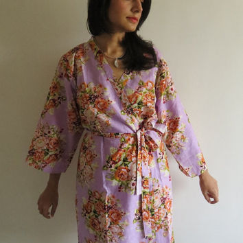 CC2 Pastel Lavender Rustic Chic Floral Kimono Crossover knee length Getting ready bridal robe, Bridal Shower, bridesmaids gifts