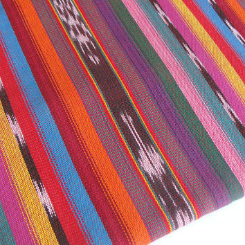 Bright Ethnic (#6) Guatemalan Fabric sold by yard - Handmade Ikat Fabric from Guatemala