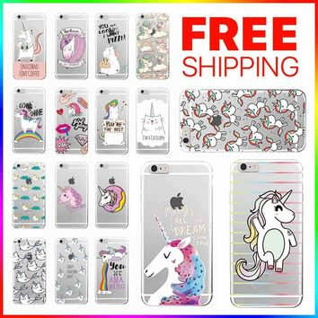 Kawaii Unicorn Rainbow Cartoon Soft Case Cover For iPhone X 8 7 6 5 (S / Plus)