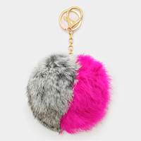 X-Large Rabbit Fur Two Tone Pom Pom Keychain, Key Ring Bag Pendant Accessory - Hot Pink & Grey
