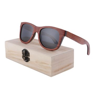 BerWer Skateboard Wooden Sunglasses red Frame wood Sunglasses UV 400 Protection in Wooden Box