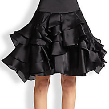 MILLY - Tara Silk Satin Tiered-Ruffle Skirt - Saks Fifth Avenue Mobile