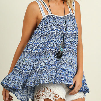 Umgee Boho Aztec Blue Strappy Tank Top