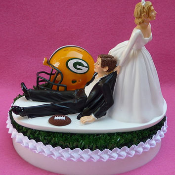 Wedding Cake Topper Green Bay Packers Football Themed GB Sports Turf Topper w/ Cheesehead, Garter Humorous Bride Groom Sports Fan Fun