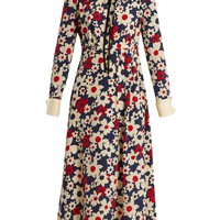 Butterfly-embroidery floral-print silk-crepe dress | Gucci | MATCHESFASHION.COM UK