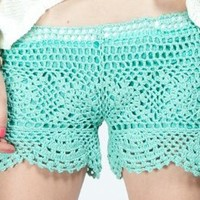 G2 Chic Mint Crochet Shorts(BTM-SHT,LGN-S): Clothing