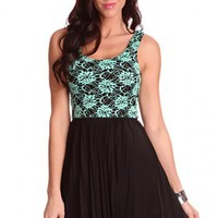 Aqua Black Floral Embroided Pleated Skirt Sexy Party Dress @ Amiclubwear sexy dresses,sexy dress,prom dress,summer dress,spring dress,prom gowns,teens dresses,sexy party wear,women's cocktail dresses,ball dresses,sun dresses,trendy dresses,sweater dresses