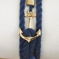 Nautical Mile Anchor Rope Knot Bracelet in Navy Blue | Sincerely Sweet Boutique