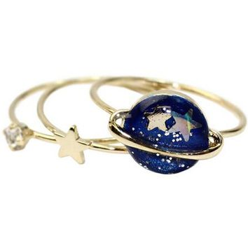 Star and Planet 3-Piece Ring Set