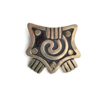 Maricela Taxco Brooch Sterling Silver, Aztec Design Brooch, Modernist Silver Brooch, Silver Jewelry, Taxco Mexico Jewelry, Sterling Pin