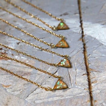 Tiny triangle Opal Gold Necklace, layering necklace