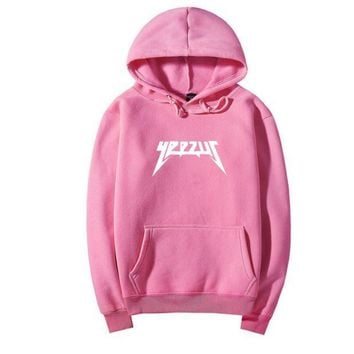 PEAPUF3 YEEZUS Fashion Casual hooded Sweater Men and Women's Clothes Pink