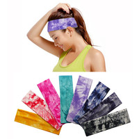 8 pieces Set Tie Dye Cotton Elastic Stretch Headband Yoga Sports Hair Band Bandage On Head Gum For Hair Turban Bandana