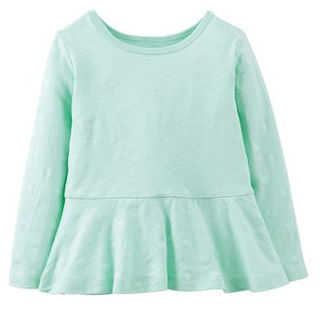 Carter's Glitter-Dot Peplum Top - Girls