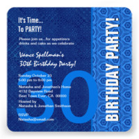 30th Birthday Modern Shades of Blue Personalized Invitations