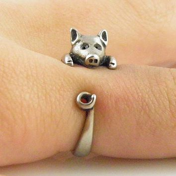 Animal Wrap Ring - Pig - White Bronze - Adjustable Ring - Keja Jewelry