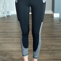 Black Marled Grey Pocket Leggings