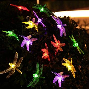 Solar Powered Outdoor String Lights Dragonfly 6M 30 Leds Starry Lighting christmas decorations for home Garden Light