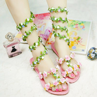 Fresh Forest Green Leaf Flower Sandals