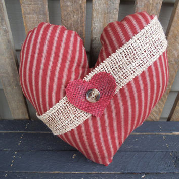Valentine's Day Pillow -Rustic Pillow - Heart Pillow - Burgundy Pillow - Primitive- Heart - Valentine's Day Decoration -Shabby Pillow - 10""
