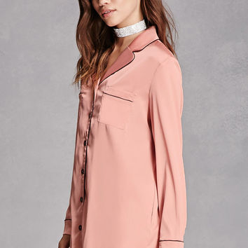 Contrast Satin Pocket Shirt