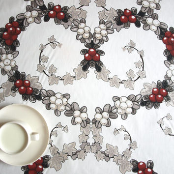 Christmas Tablecloth white grey red berries heart garland , also napkins , curtains available, great GIFT