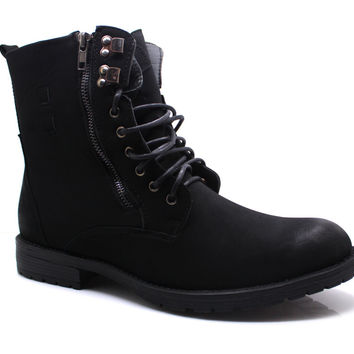 Men's Winter Boots Military Style Ankle High Faux Fur Lined Rugged - Shahin