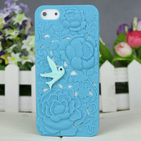 three-dimensional flower and With Resin Bird Hard Cover for Apple iPhone5 Case, iPhone 5 Cover,iPhone 5 Case, iPhone 5g