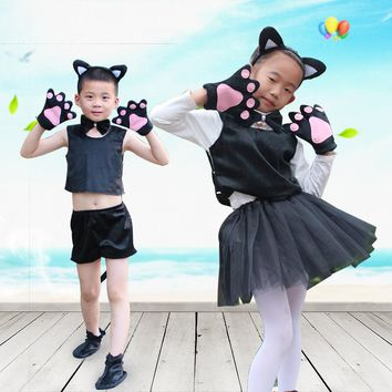 Catwoman black white Cat Cosplay Halloween Carnival Costumes set Kids Girls Children Dress Party Performance Clothes tutu