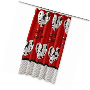 "Disney Mickey Mouse/Minnie Mouse Luv You More 70"" x 72""  Fabric Shower Curtain"