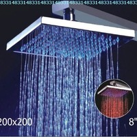8- Inch No Battery 3 Color LED Brass Temperature Sensitive Rainfall Bathroom Shower Head ,Chrome Finish Ys-1700:Amazon:Home Improvement