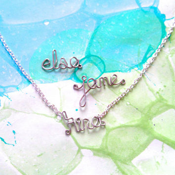 Personalized Name Bracelet - Silver Wire Word Jewelry - Custom Necklace - Birthday Gift