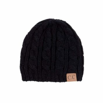 CC Thick Knit Beanie, Black