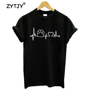 Paw Heartbeat Lifeline dog cat Women tshirt Cotton Casual Funny t shirt For Lady Girl Top Tee Hipster