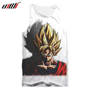 UJWI Anime Tanktop New Fashion Men 3d Print Dragon Ball Z Tank Tops Casual Vest Son Goku Bodybuilding Shirt Super Saiyan Singlet