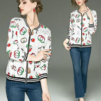 GUCCI Newest Fashion Women Casual Print Long Sleeve Zipper Cardigan Jacket Coat
