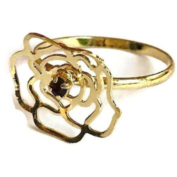 Rose Design Cz 18KTS of Gold Plated Ring