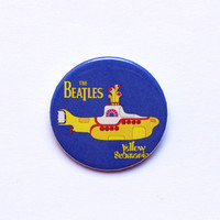 "The Beatles yellow submarine logo 1x1.5"" pinback button badge from Stickerama"