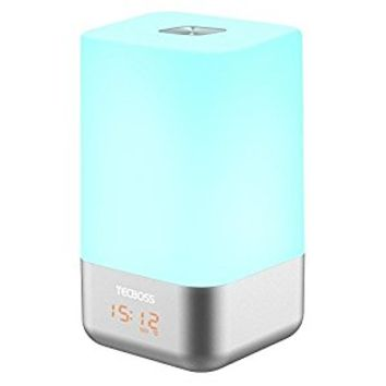 Tecboss Bedside Lamp Wake Up Light W Sunrise Simulation Alarm Clock, 5 Natural Sounds, Touch Control Color Change Dimmable LED Night Light