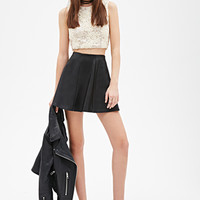 FOREVER 21 Embroidered Lace Crop Top Cream/Gold