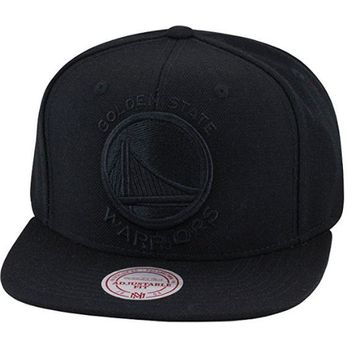 ONETOW Mitchell & Ness Golden State Warriors Snapback Hat Cap All Black / Black