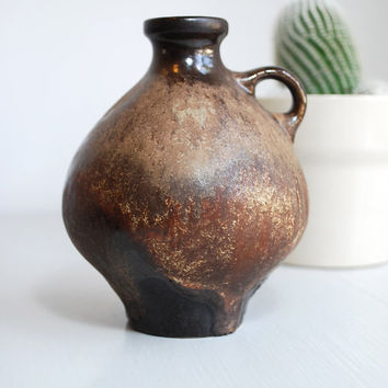 Vintage West German Brown Studio Pottery Jug Vase
