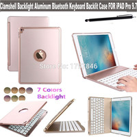 Clamshell Backlight Aluminum Bluetooth Wireless Keyboard Smart Cover for Apple iPad Pro 9.7 Inch Tablet Stand Folio Backlit Case